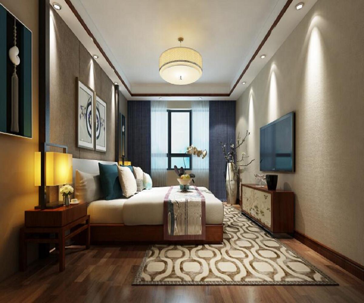 新中式四居装修次卧效果图