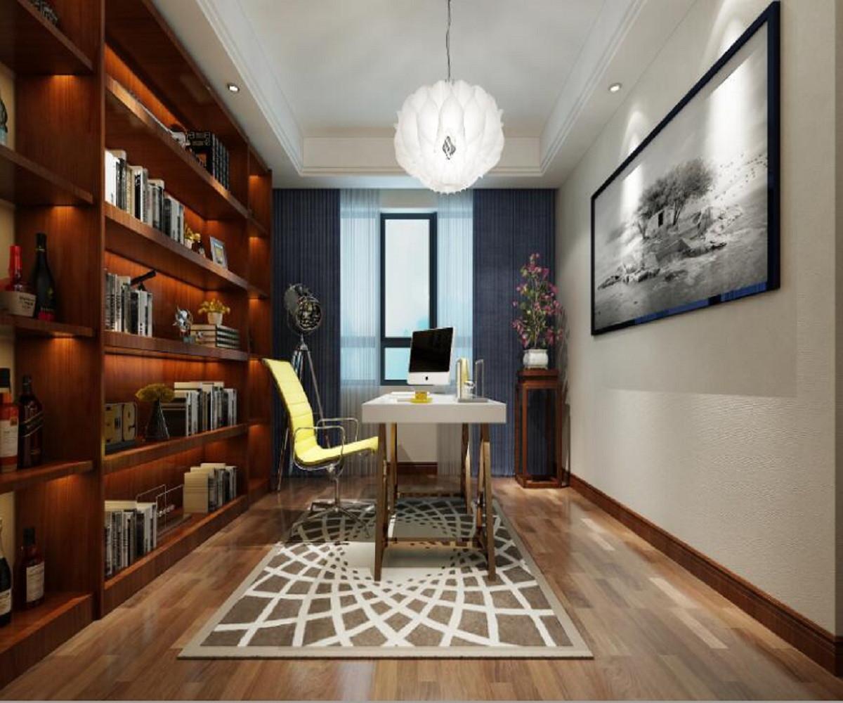 新中式四居装修书房效果图