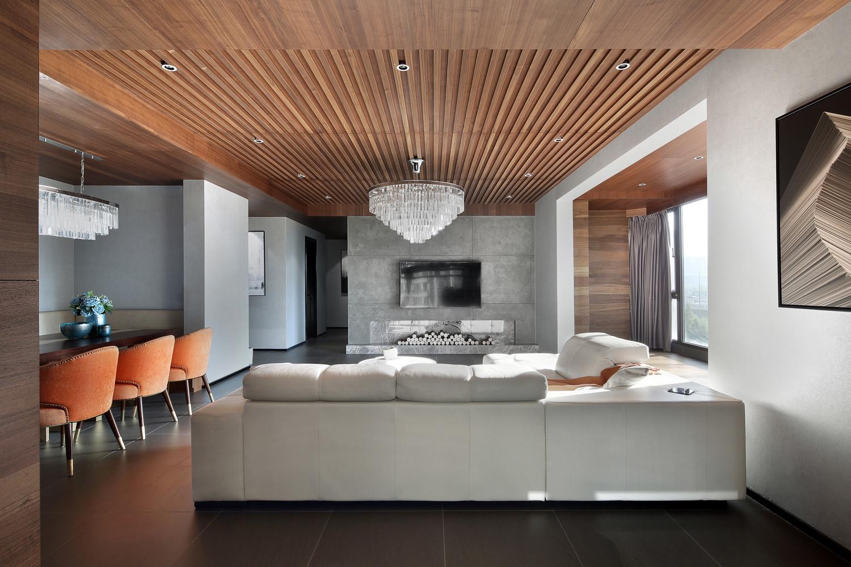 198平现代风格装修客厅顶面造型图