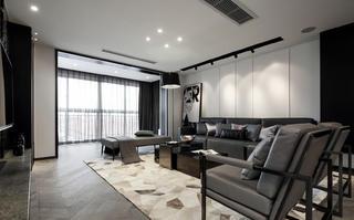 黑白灰三居设计沙发背景墙图片