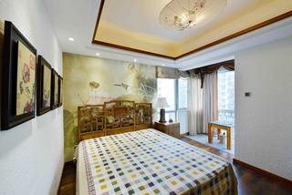 新中式三居装修床头背景墙图片