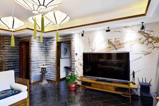 新中式三居装修电视背景墙图片