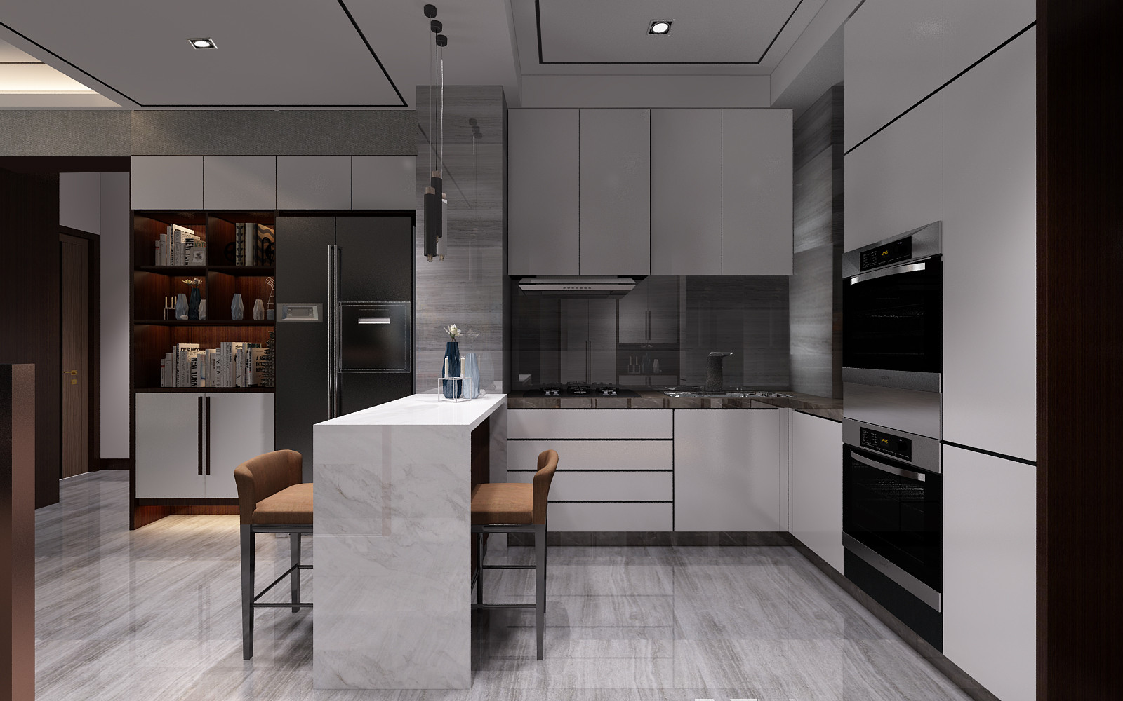 大户型现代简约装修厨房设计图