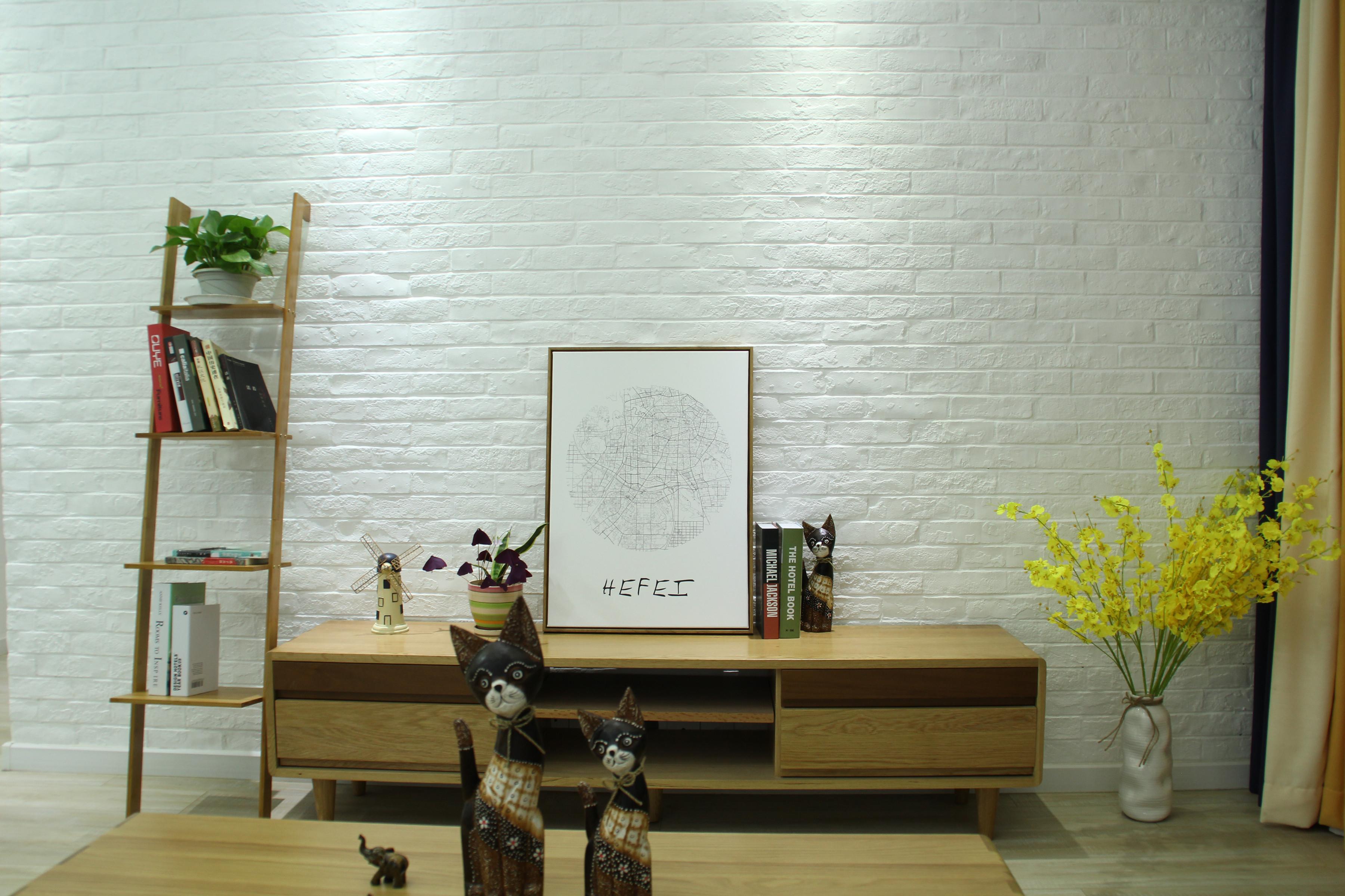 二居室北欧风格家电视背景墙图片
