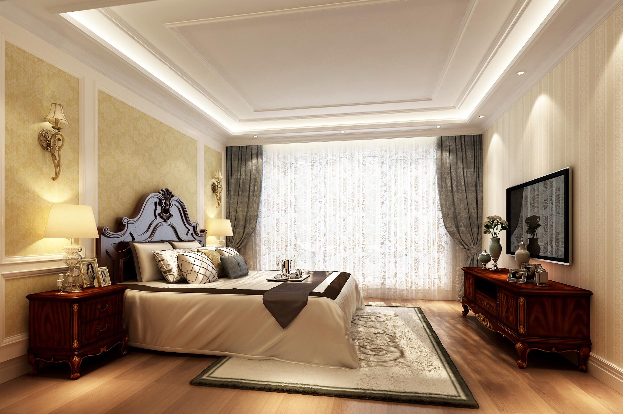 古典中美式混搭装修客卧设计图