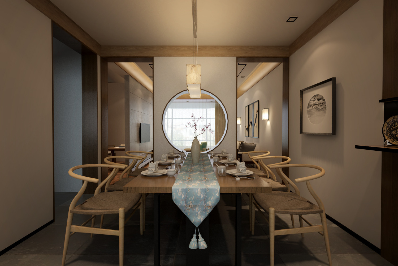 160㎡中式风格家餐厅效果图