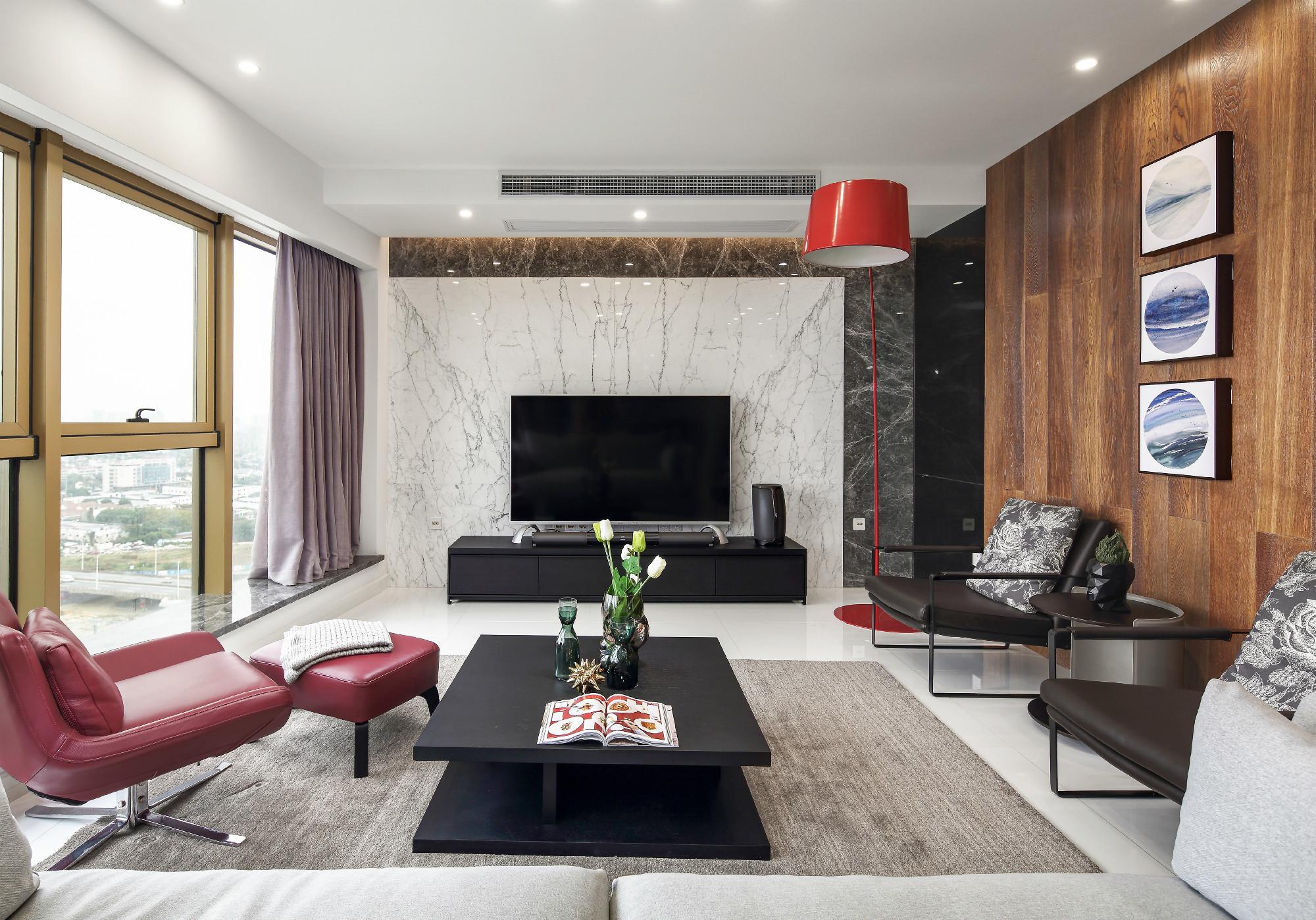 现代简约二居室装修客厅效果图