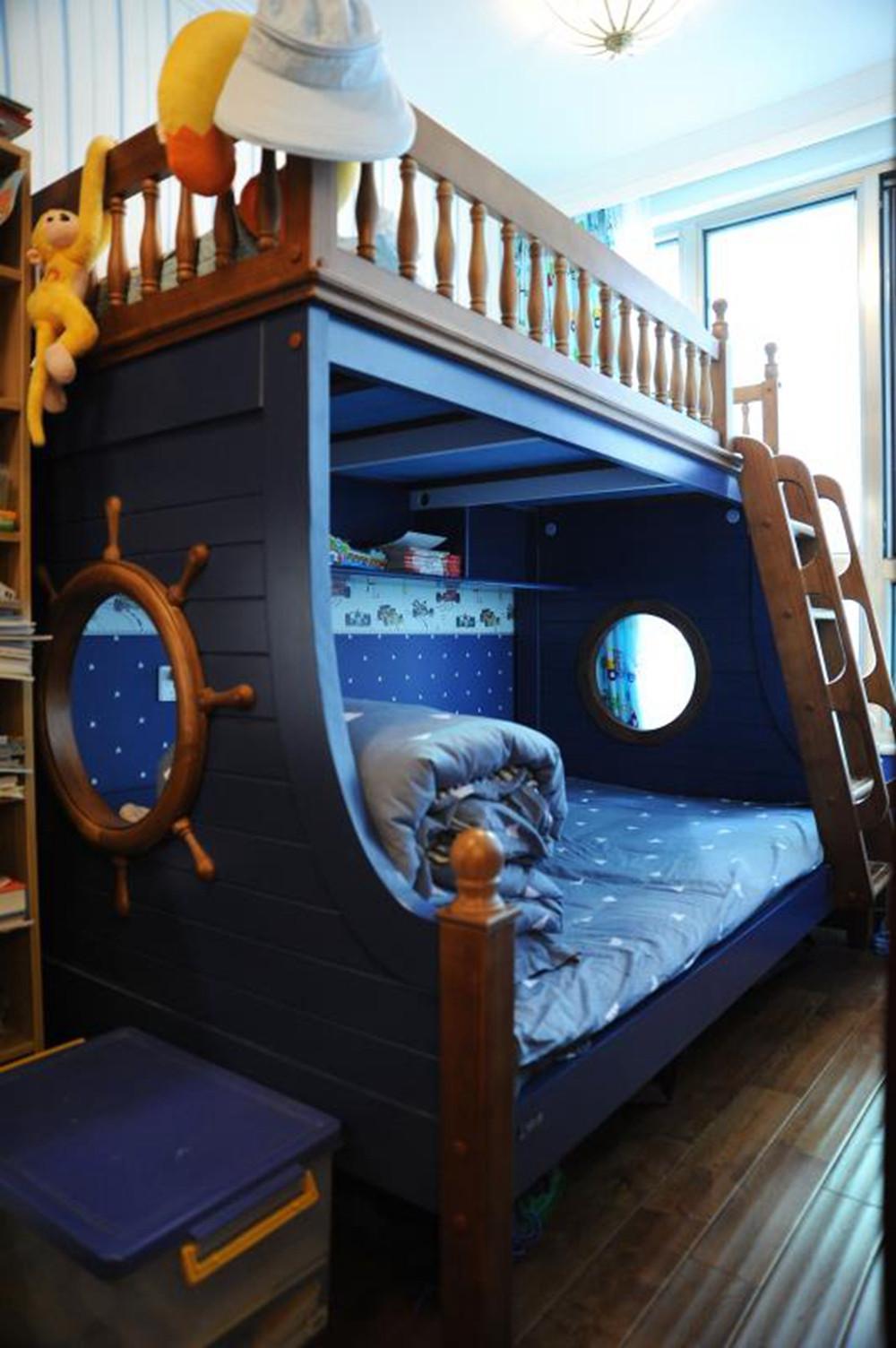 70平美式二居装修儿童床图片