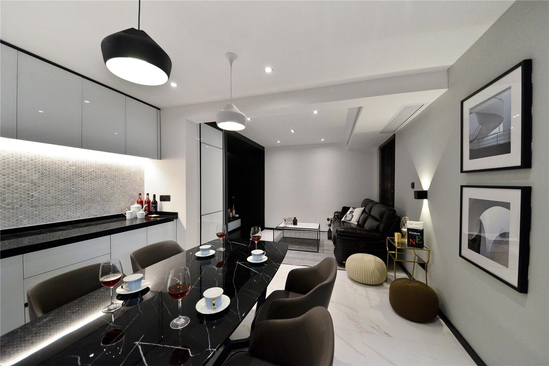 黑白简约风装修餐客厅设计图