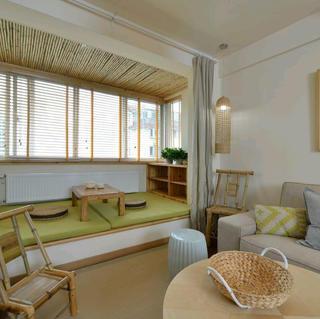 二居室日式风格家阳台布置图