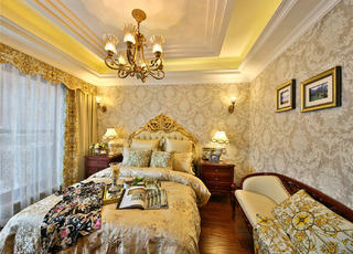 欧式别墅装修床头背景墙图片