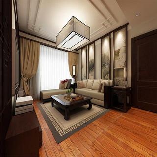 190平中式装修客厅顶面造型图