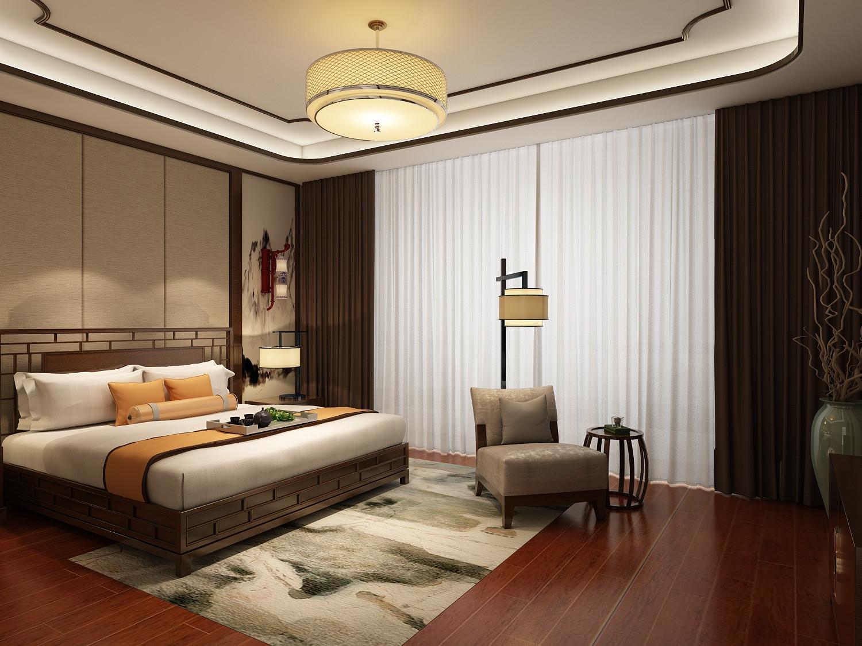 中式四房装修次卧效果图