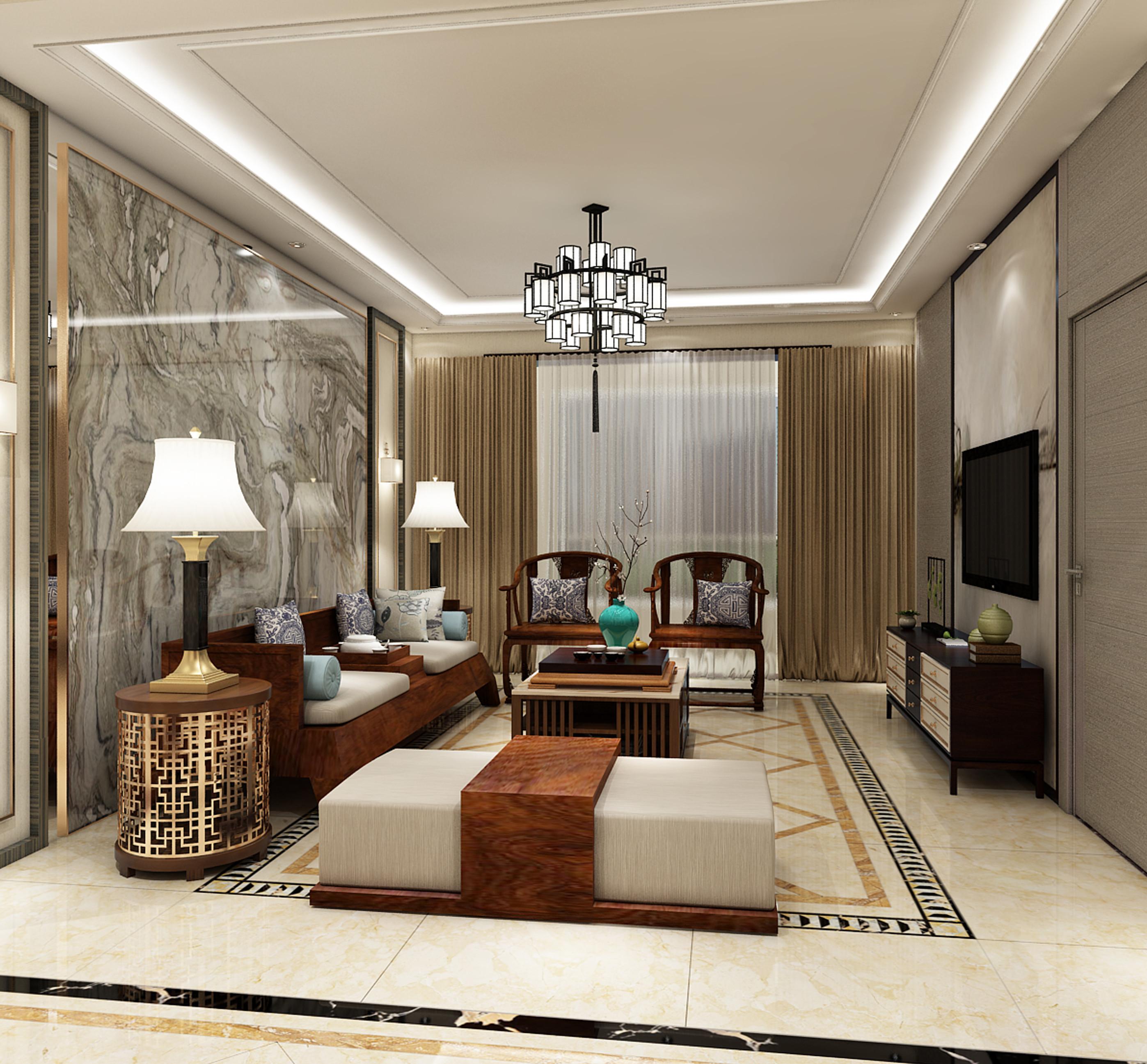 简约中式三居装修卧室效果图