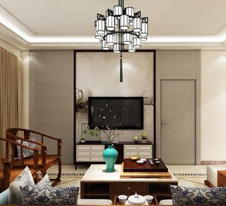 简约中式三居装修电视背景墙图片