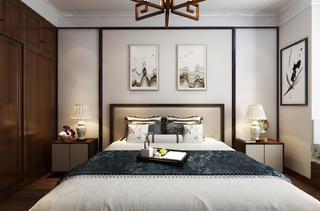 新中式三居装修主卧效果图