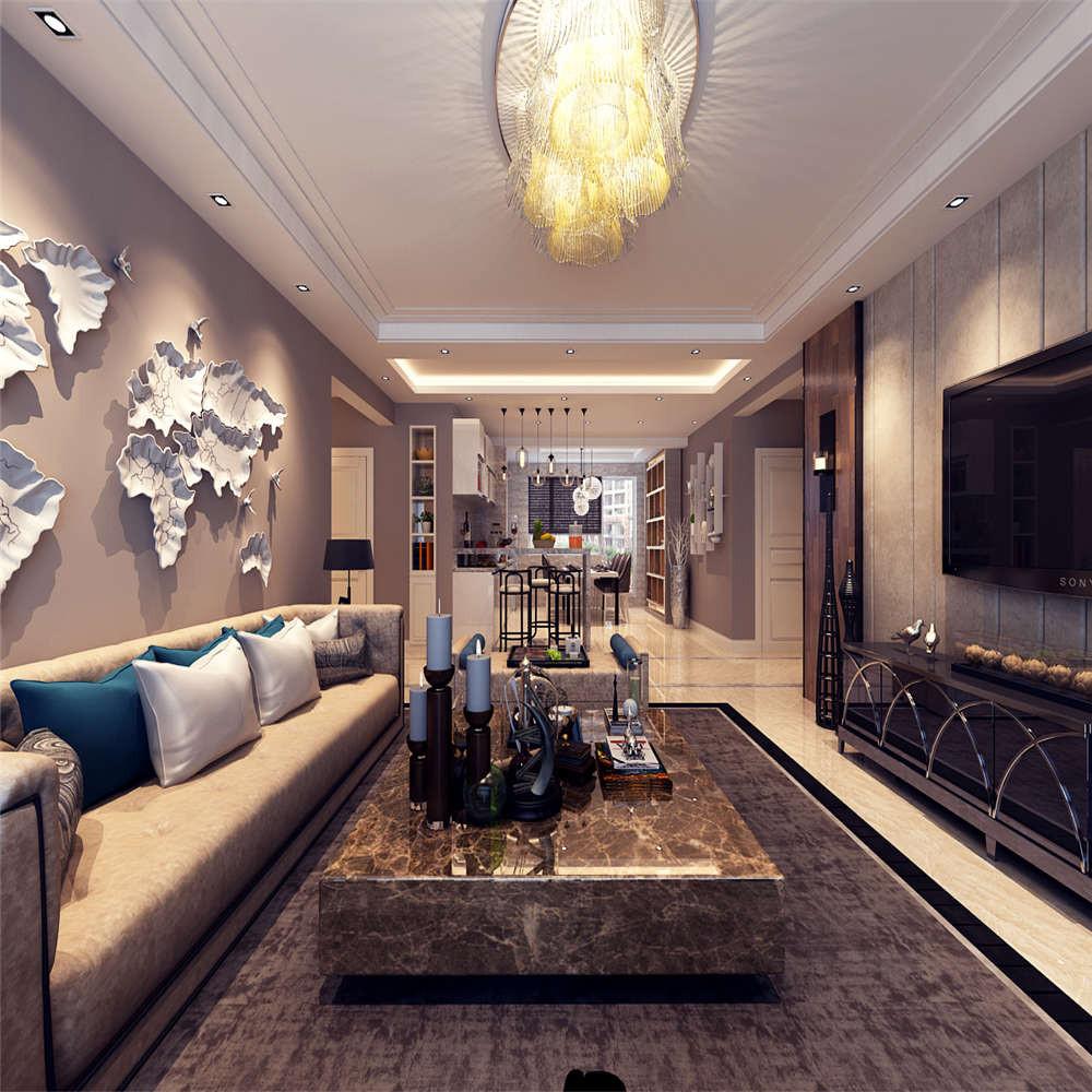 155平港式风格装修客厅吊顶图片