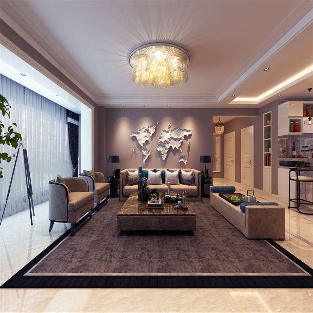 155平港式风格装修沙发背景墙图片