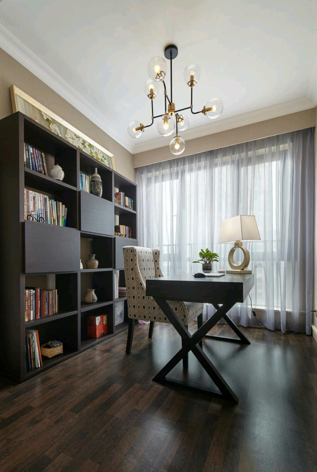 130㎡现代美式装修书房效果图