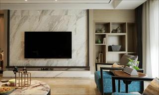 现代简约四居装修电视背景墙图片