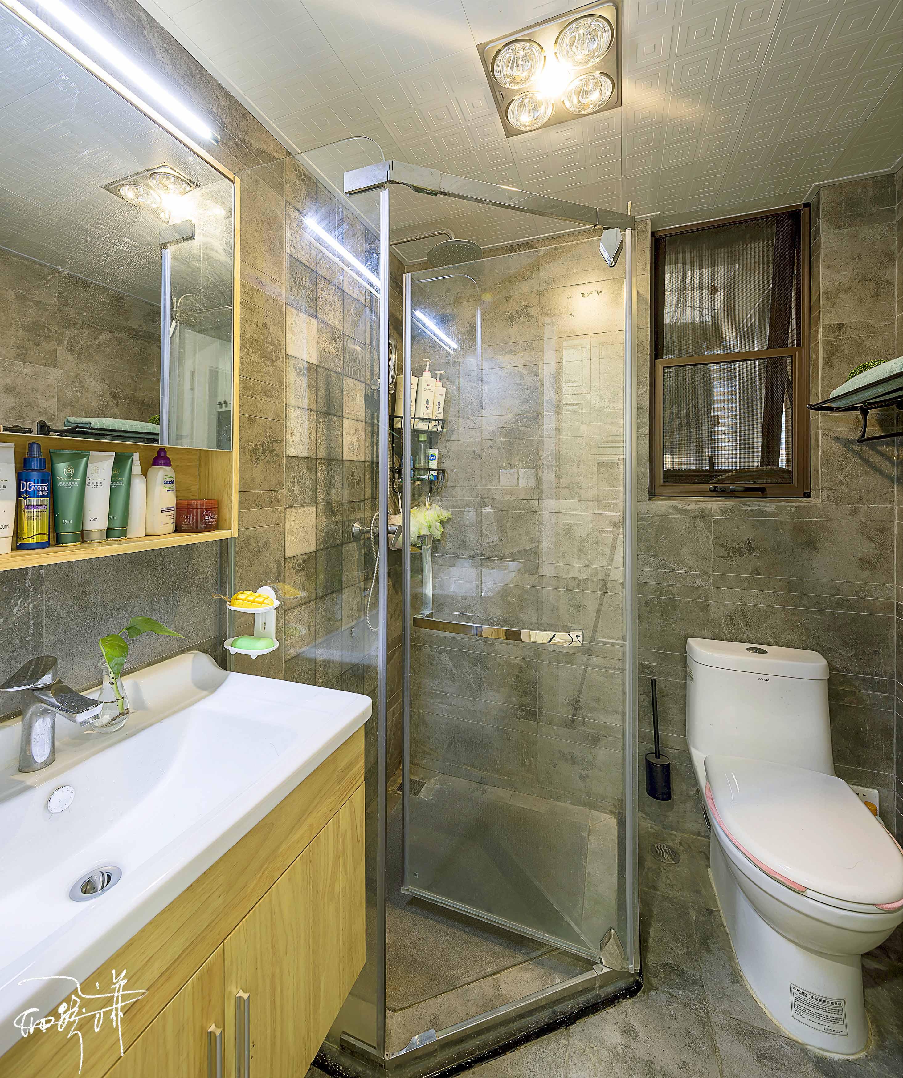 75平北欧装修卫生间图片