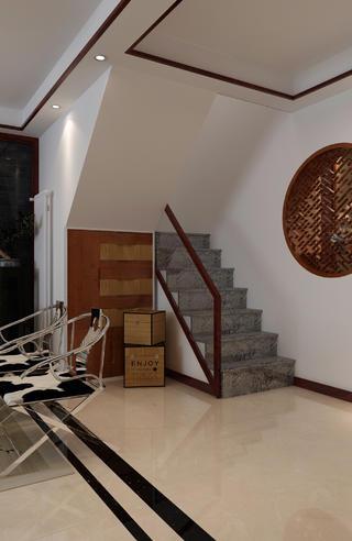中式复式装修楼梯一角