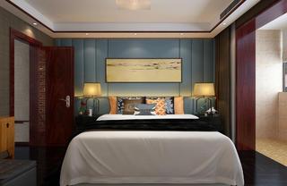 中式复式装修床头背景墙图片