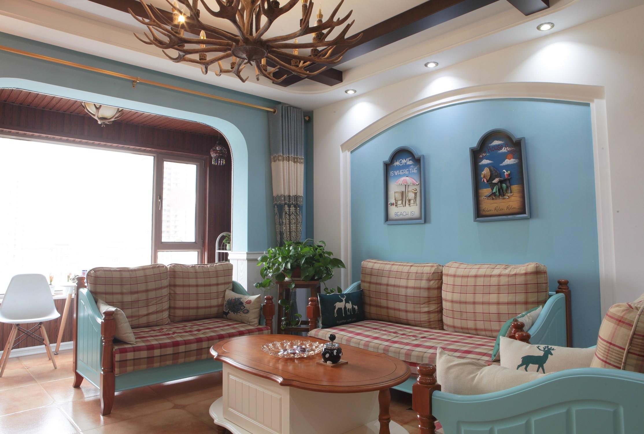110㎡地中海风格装修沙发背景墙图片