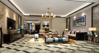 新中式四房装修客厅设计图