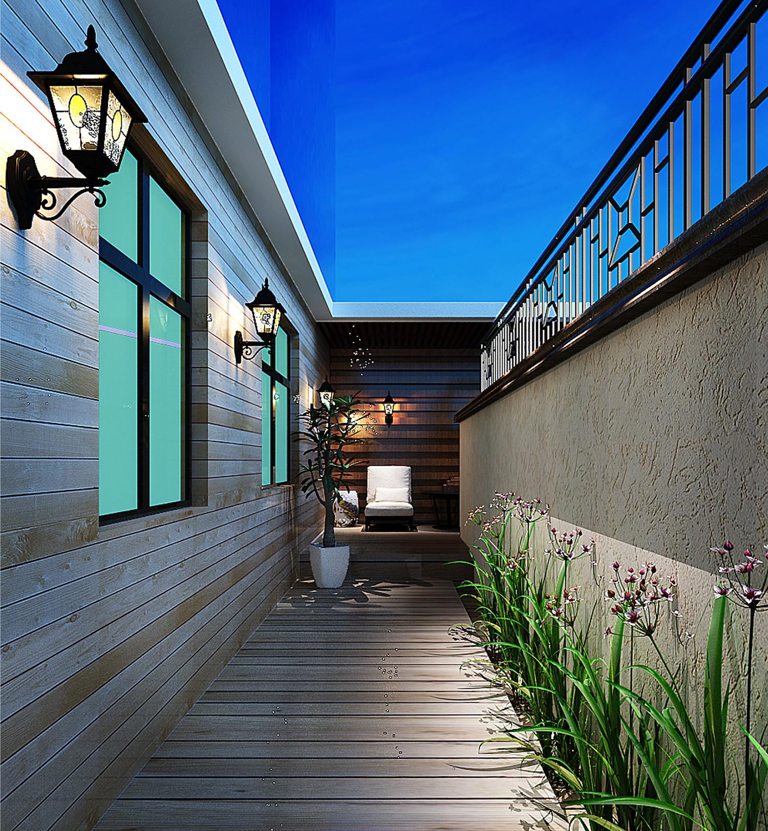 新中式复式装修阳台效果图