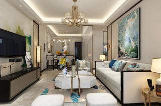 新中式三居装修客厅效果图