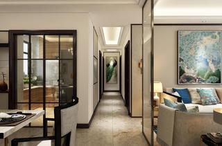 新中式三居装修过道图片
