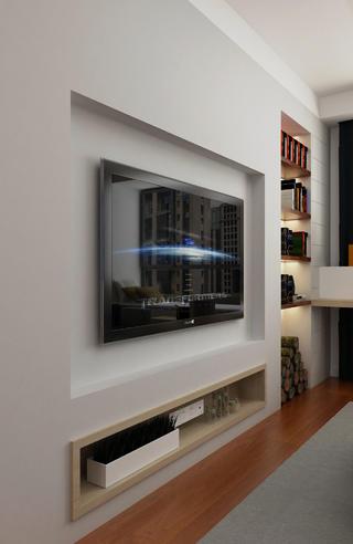 120㎡简约三居装修电视背景墙图片