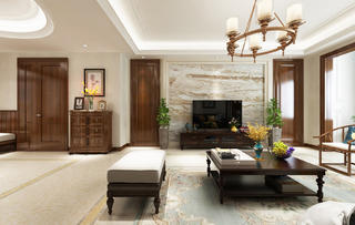 四居室美式风格装修客厅效果图