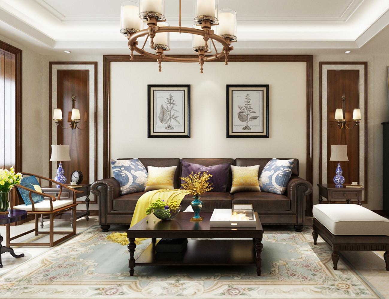 四居室美式风格装修沙发背景墙图片