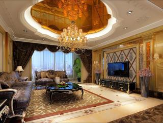 大户型新古典豪华装修客厅吊顶图片