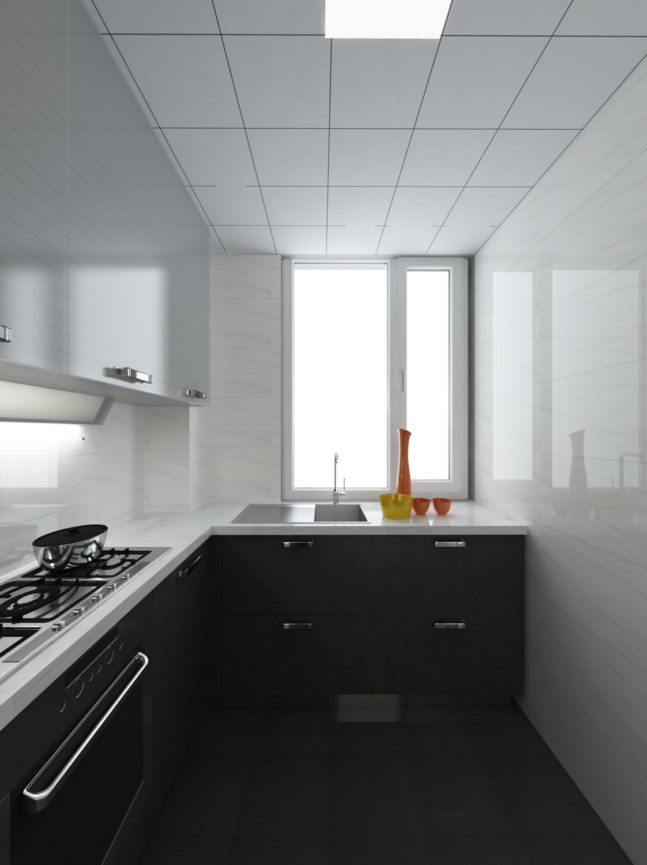 110㎡极简黑白灰装修厨房构造图