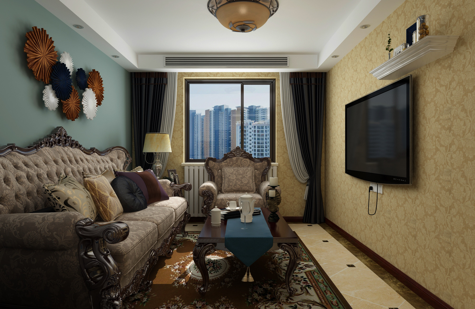 一居室美式之家客厅效果图