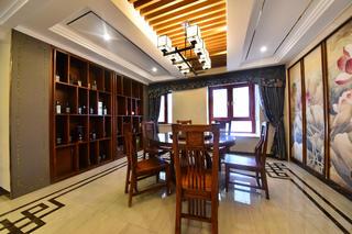 大户型中式风装修餐厅吊顶设计图