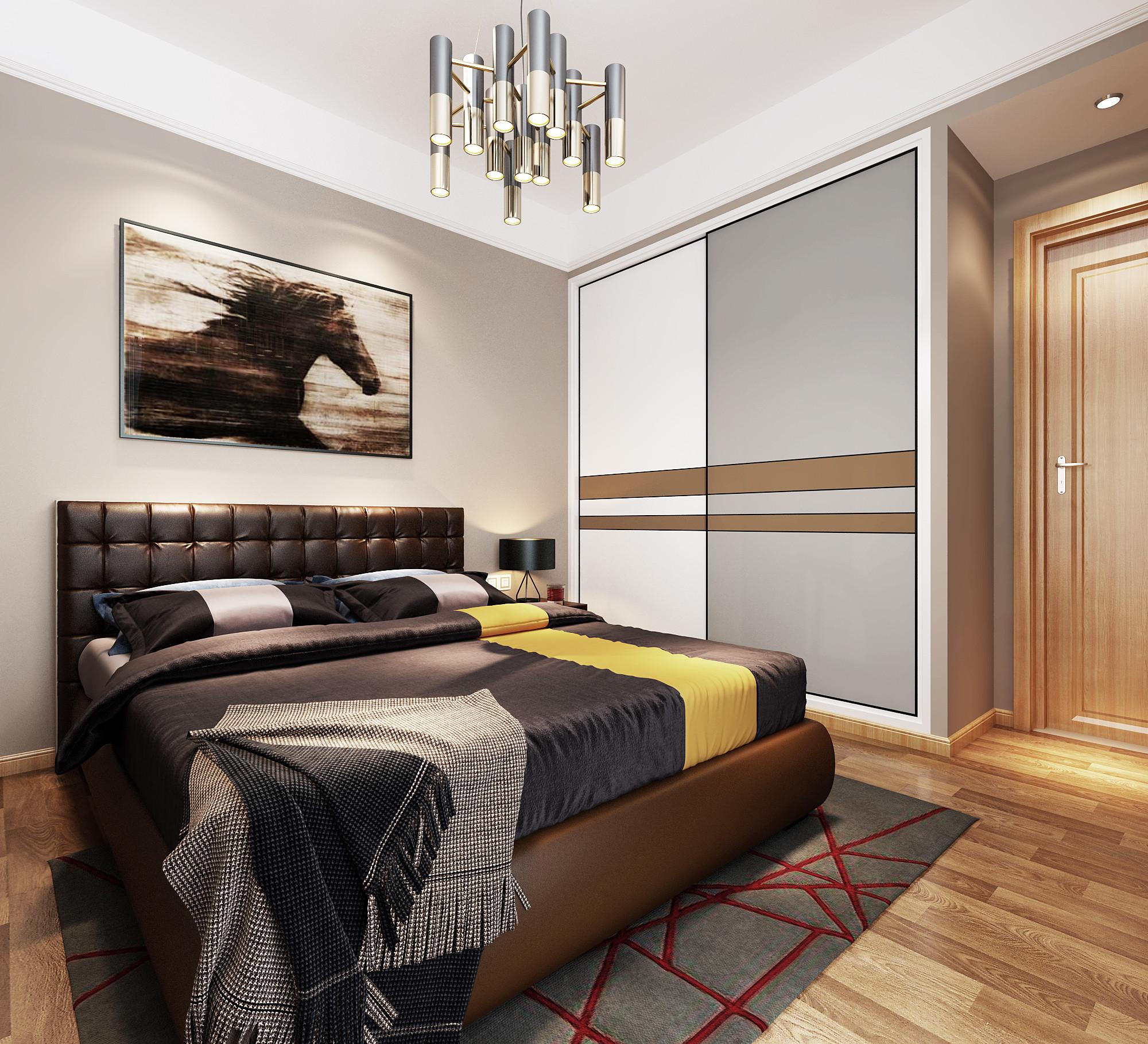 现代简约三居装修次卧效果图