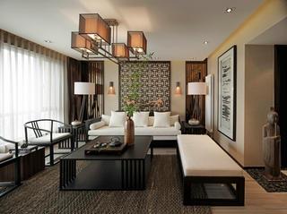 大户型新中式设计客厅效果图