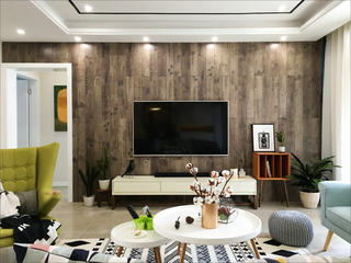 110㎡三居室装修电视背景墙图片