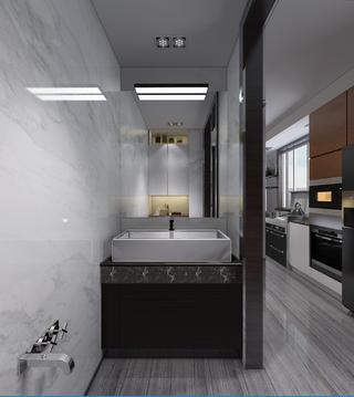 黑白灰调现代风格装修洗手台图片