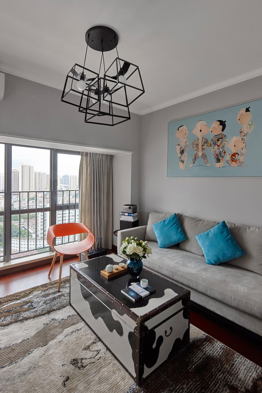 120平现代风格装修沙发背景墙图片