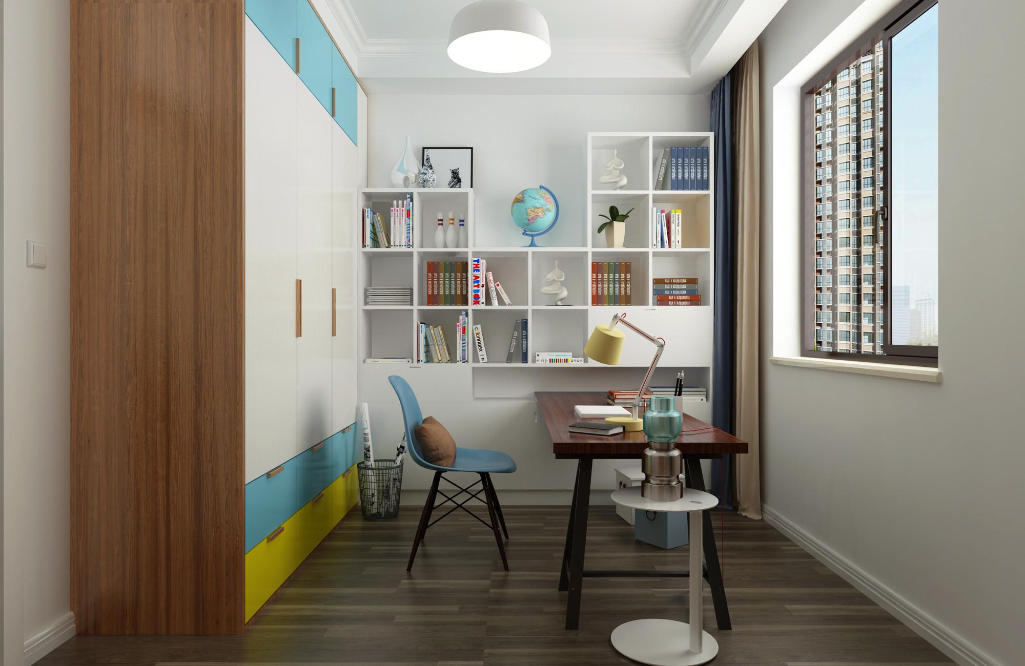 北欧二居室装修书房效果图