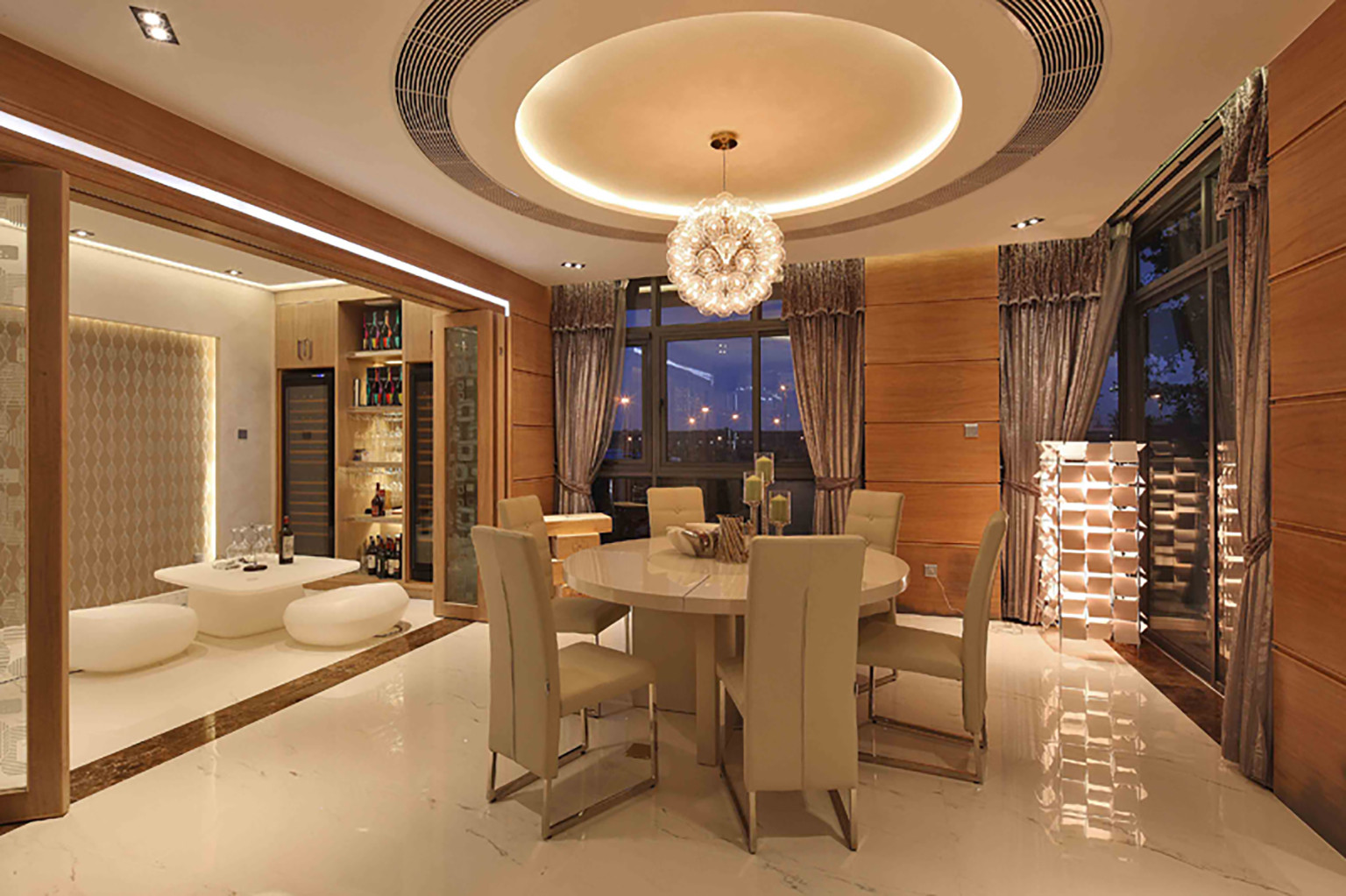 现代别墅装修餐厅顶面造型图
