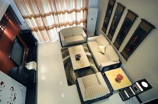中式风复式装修客厅俯视图