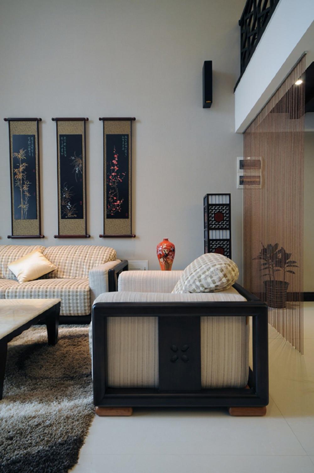 中式风复式装修沙发图片
