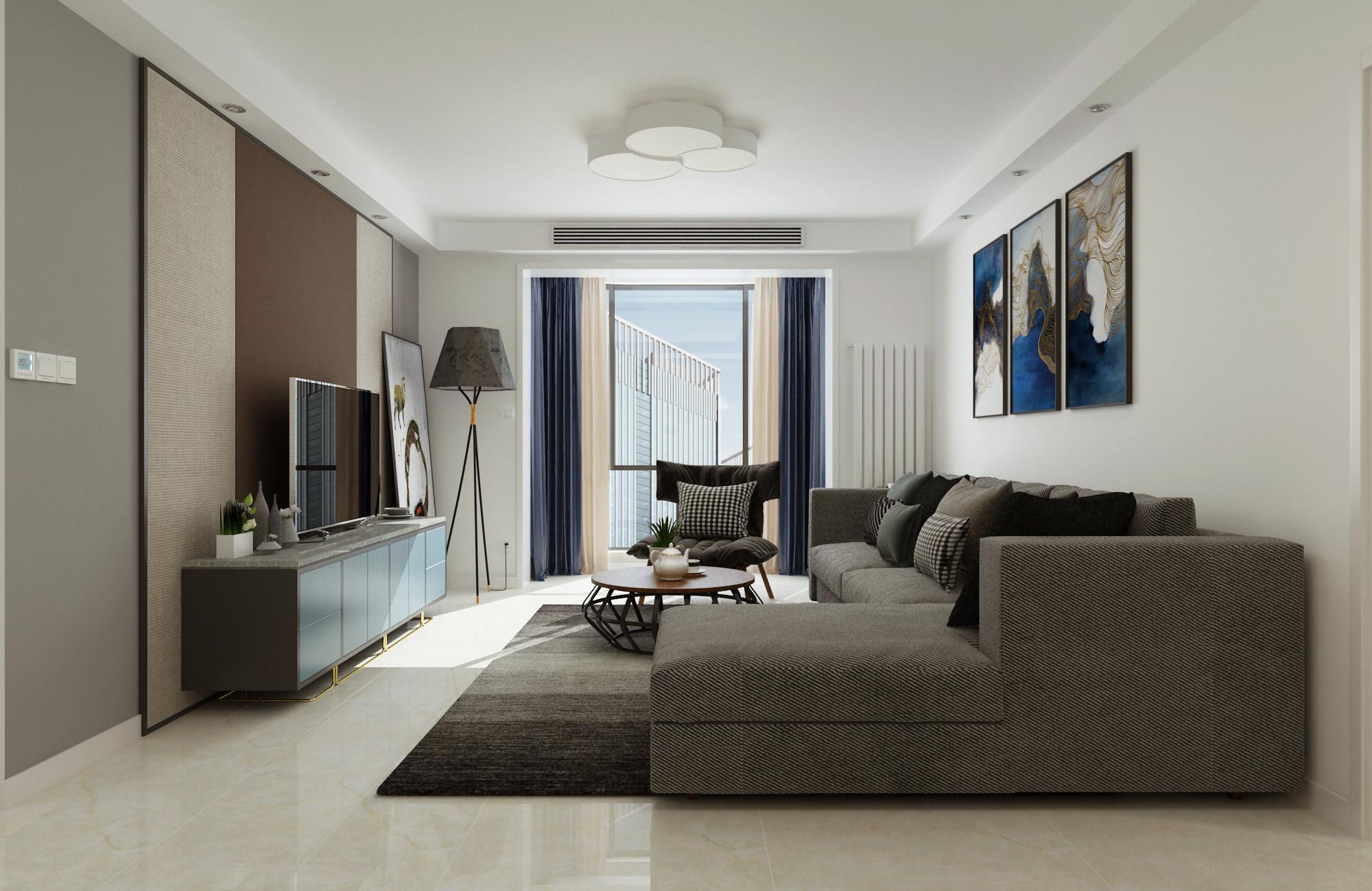 120平现代简约装修客厅效果图