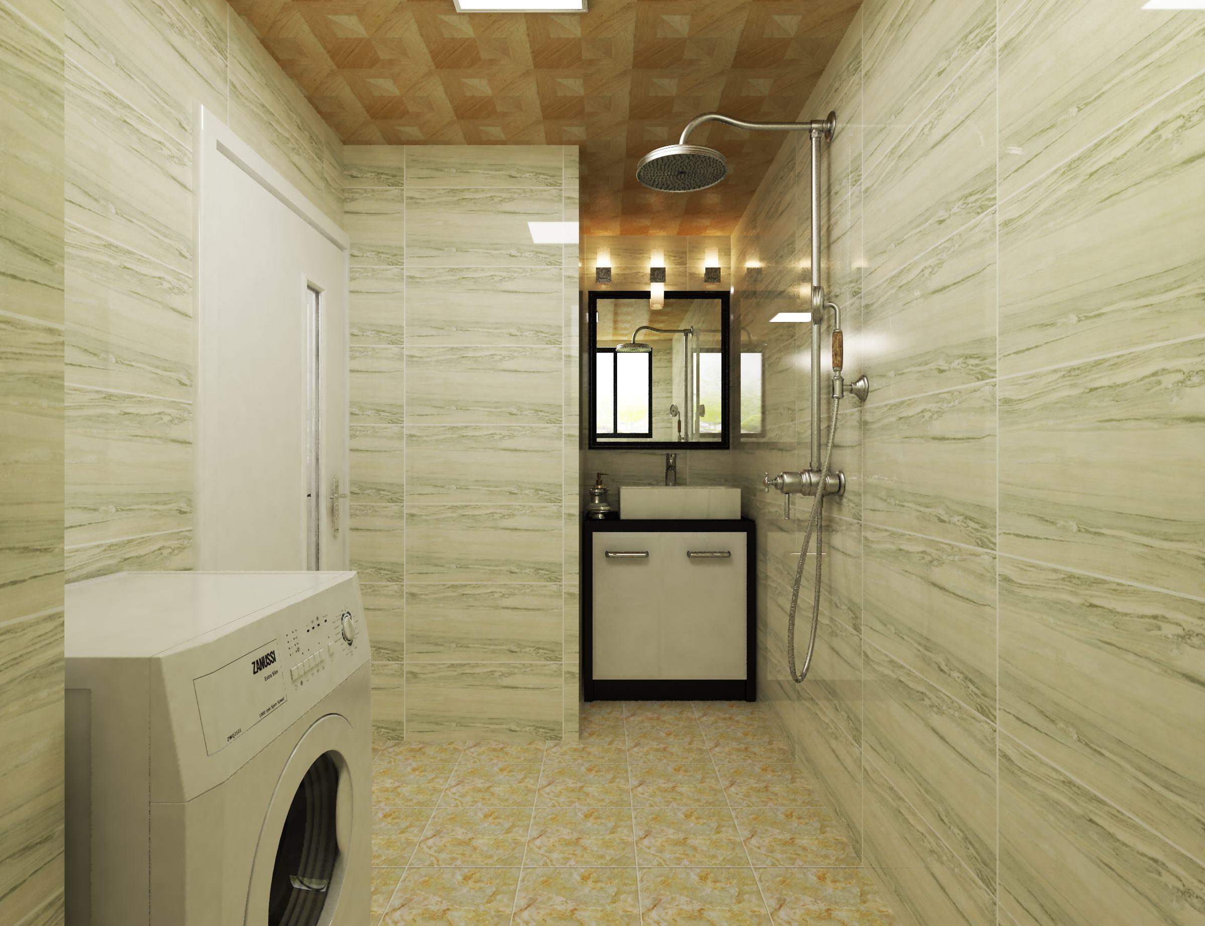 黑白调简约二居装修卫生间效果图